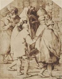 personnages portant des capes et marchant dans une rue by pietro faccini