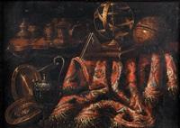 nature-morte aux pièces d'orfèvrerie, sphère animalière, globe terrestre et tapis sur un entablement by francesco fieravino (il maltese)