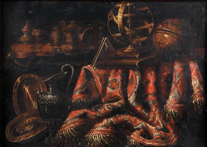 nature morte aux pièces dorfèvrerie sphère animalière globe terrestre et tapis sur un entablement by francesco fieravino il maltese