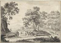 landschaft mit kleiner holzbrücke by christoph nathe