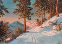 chemin de montagne sous la neige by piotr livoff ivanovitch