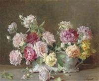 roses in a jardinière by licinio barzanti