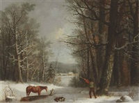 woodsman in winter by george henry durrie