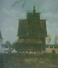 l'eglise en bois du village de spas-ve construit en 1628 by vassili golikov