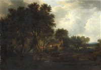 rustic scene with figures beside a cottage by james stark