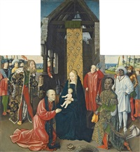 the adoration of the magi - a panel from an altarpiece by johann (hans) raphon (von eimbeck)