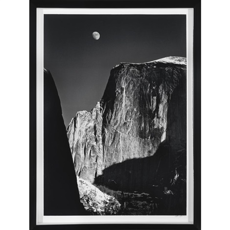 moon and half dome yosemite national park by ansel adams