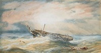 "frigate dismasted in a hurricane in the west indie (hms ""orestes""?) by charles arthur lodder"