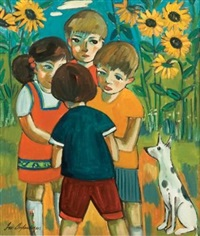 four children and a dog by iris ampenberger