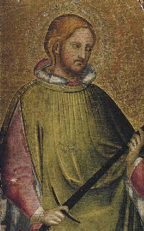 a young male saint holding a sword saint julian the hospitator by agnolo di taddeo gaddi