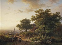 a mountainous landscape with a view on a town in the distance by barend cornelis koekkoek