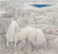 天池白馬 (white horse at heaven lake) by zhou rongsheng