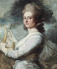 portrait of a lady, half-length, in a lavender and white dress, playing a lyre by ozias humphry