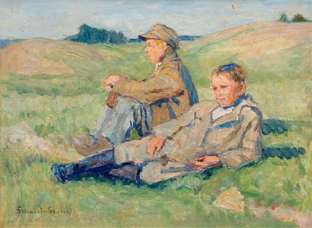 resting boys by nikolai petrovich bogdanov belsky