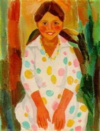 young girl in spotted dress by lidia khanamiryan