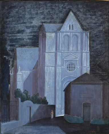 view of a church at night by john bradley storrs