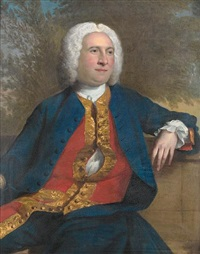 portrait of a gentleman in a blue coat with a red brocaded waistcoat, seated before a landscape by andrea soldi