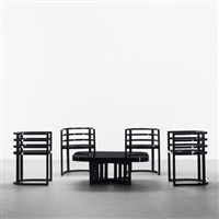 chairs and coffee table (set of 5) (model 810a) by richard meier