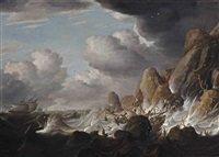 shipping in stormy waters with a shipwreck on the cliffs by bonaventura peeters the elder
