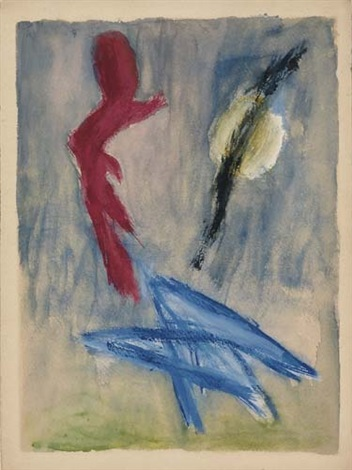 untitled red blue and black forms on a bluegreen ground by barnett newman