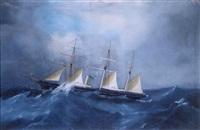 yacht mixte à trois mâts naviguant sur une mer houleuse by de simone