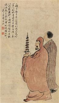 僧 立轴(原裱) 纸本设色 by luo ping