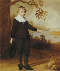 portrait of a seven-year-old boy in a river landscape by jan daemen cool