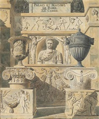roman reliefs, busts and urns: design for a frontispiece by charles percier