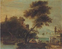 a wooded river landscape with figures resting by a river bank, classical ruins beyond by jan de momper
