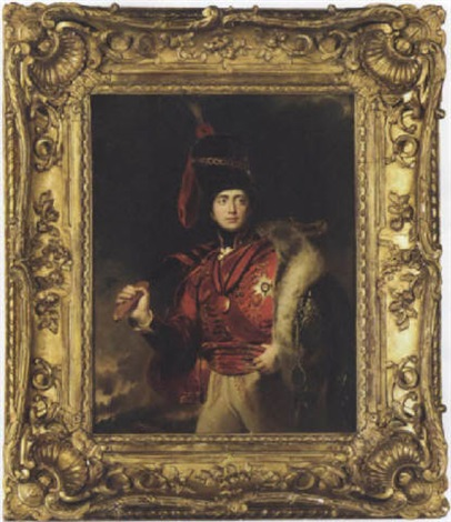 portrait of lord charles stewart later 3rd marquess of londonderry in a hussar uniform with the peninsular war ribbon and medal by samuel laurence