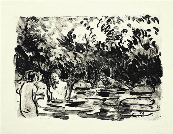 six baigneuses dans la rivière by camille pissarro