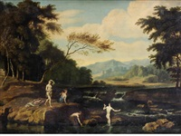 figures bathing in a river, a mountainous landscape beyond by johannes (jan) glauber