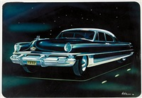 streamlined four door sedan at night by richard arbib
