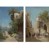 the harem (+ outside the mosque; 2 works) by godefroy de hagemann