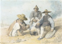 three chinese figures smoking, the bridge pagoda, shanghai beyond by william alexander