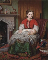 a mother and child seated beside a hearth by robert crozier