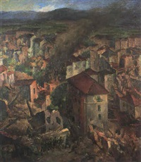 battle scene, northern italian town by goller