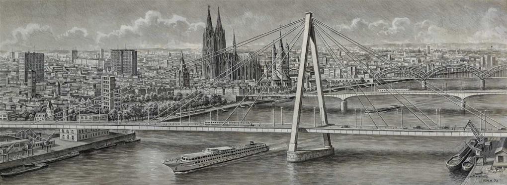 panorama aus halber vogelschau mit severinsbrücke und dem kölner dom im zentrum by erich saalfeld