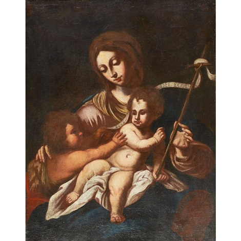 virgin and child with saint john the baptist by french school 17