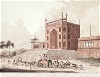 eastern gate of the jummah musjid at delhi; north east view of the cotsea bhaug, on the river jumna, delhi; the jummah musjed, (3 works) by thomas daniell