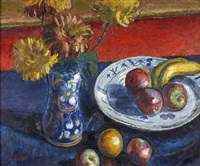 a still life of fruit and flowers by archibald ziegler