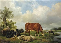 resting cattle in a meadow by hendrik van de sande bakhuyzen