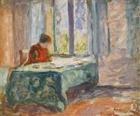 madame lebasque lisant by henri lebasque