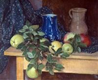 nature-morte aux pommes by eugene louis corneau
