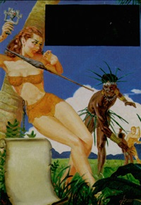 woman stealing idol, avoiding native's thrown spear by george gross