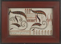 fraktur drawing, inscribed daniel delch, with vines and rows of tulips by jonas kriebel