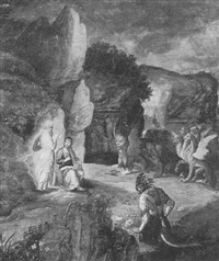 the visit of st. anthony to st. paul the hermit by jan van (brunswich monogrammist) amstel