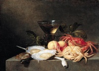 a still life of crabs, oysters, apricots, a roemer, and a pipe, all upon a stone ledge by theodorus (dirk) smits