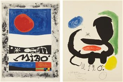 exposition des oeuvres recents and poster for the exhibition 'miró': sala pelaires (2 works) by joan miró