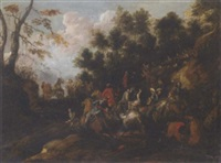 a military skirmish in a wooded pass by john faber the elder